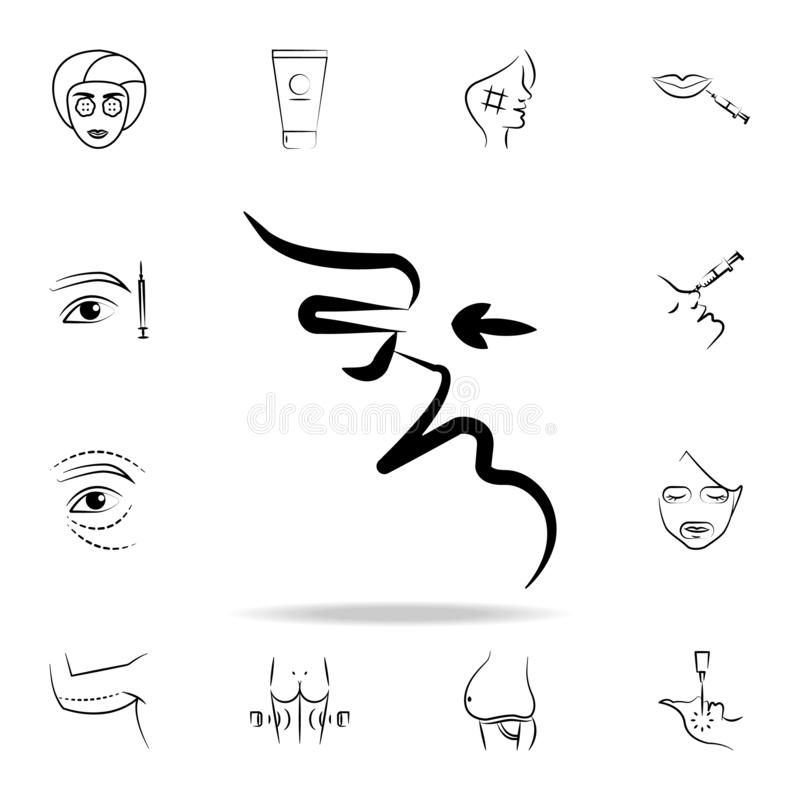 Surgery on nose icon. Detailed set of anti-aging procedure icons. Premium graphic design. One of the collection icons for websites. Web design, mobile app on royalty free illustration