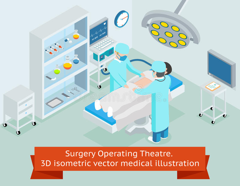 Surgery operating theatre. 3D isometric vector. Surgery operating theatre. 3D isometric medical. Procedure in hospital, surgeon doctor, operation sterile stock illustration