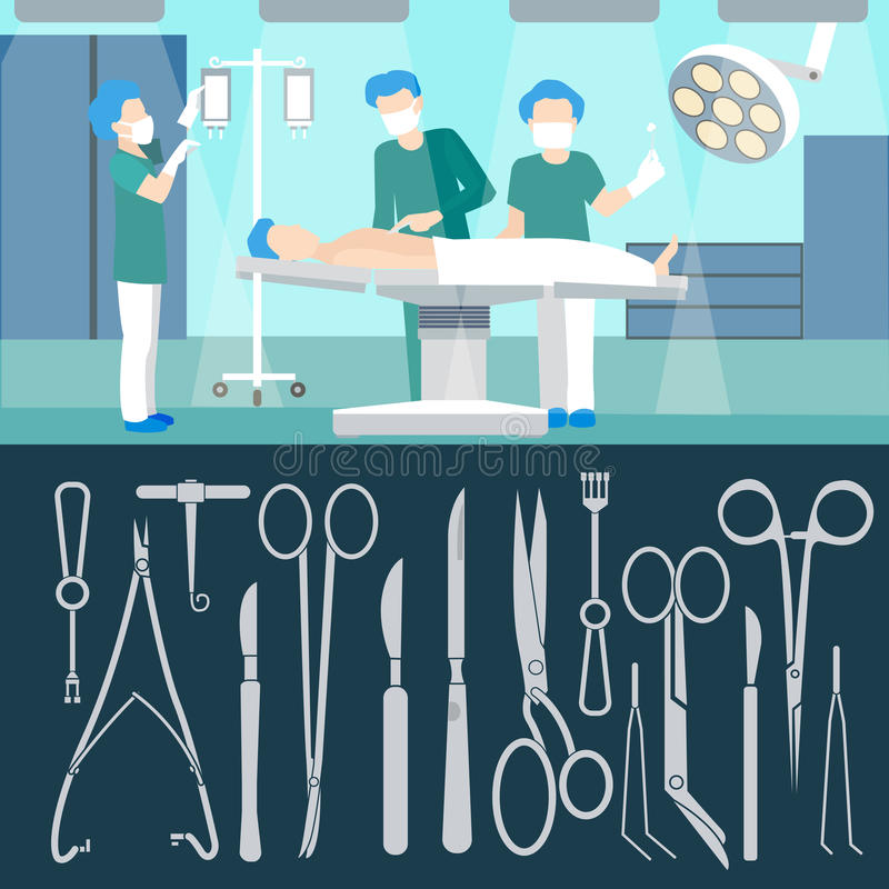 Surgery Operation. Medical Staff. Hospital Room. Surgery stock illustration