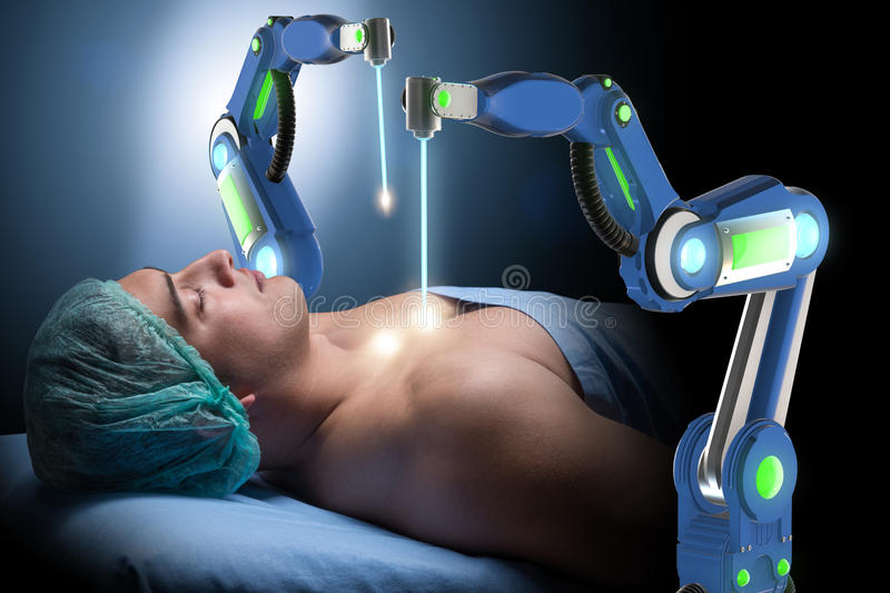 The surgery performed by robotic arm. Surgery performed by robotic arm stock image