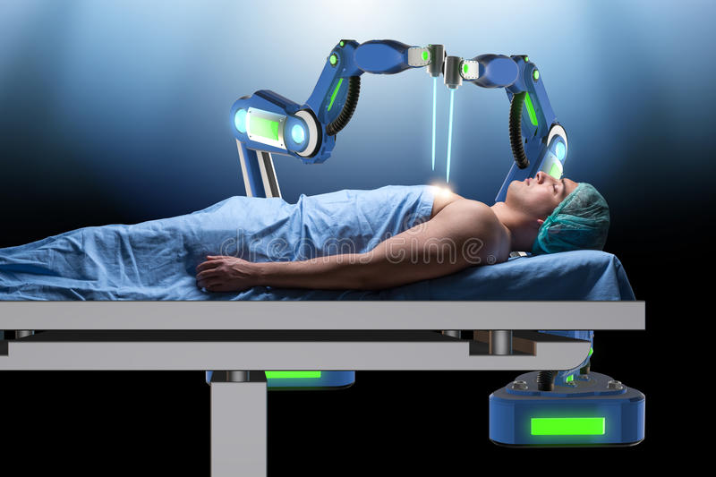 The surgery performed by robotic arm. Surgery performed by robotic arm stock images