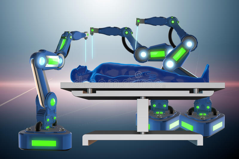 The surgery performed by robotic arm. Surgery performed by robotic arm stock illustration