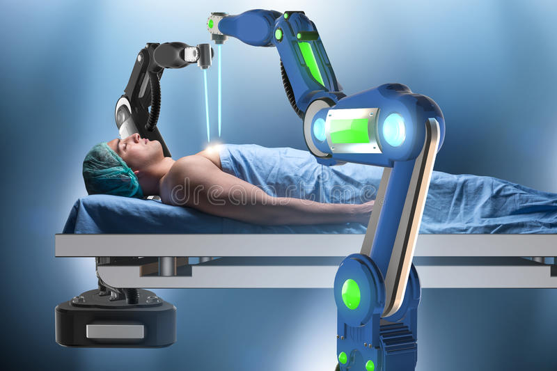 The surgery performed by robotic arm. Surgery performed by robotic arm stock photos