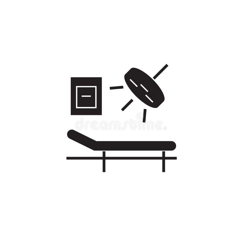 Surgery room black vector concept icon. Surgery room flat illustration, sign. Symbol royalty free illustration