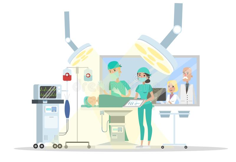 Surgery room in the hospital. Surgeon making operation to the child lying on the bed and nurse helps him. Emergency medical treatment. Isolated vector flat vector illustration