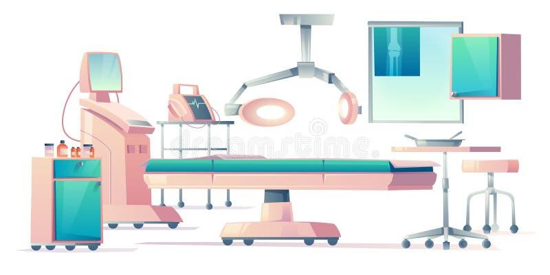 Surgery room, operating medical equipment set stock illustration