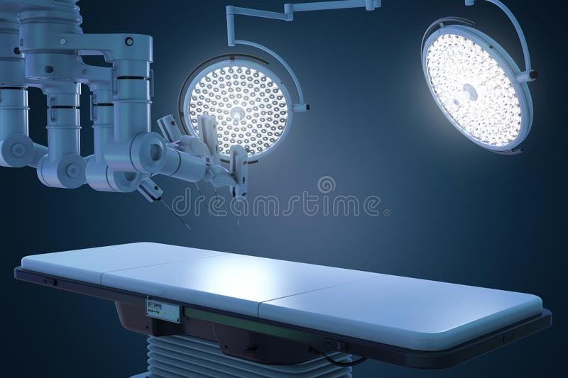 Surgery room with robotic surgery. 3d rendering surgery room with robotic surgery machine stock photos