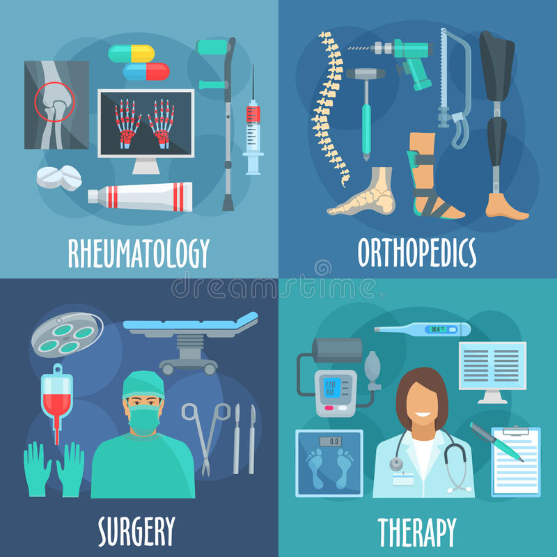 Surgery, therapy, orthopedic, rheumatology icons vector illustration