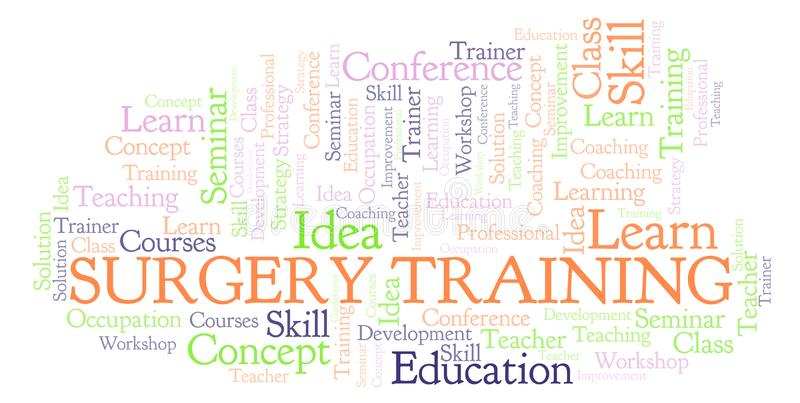 Surgery Training word cloud. Wordcloud made with text only vector illustration