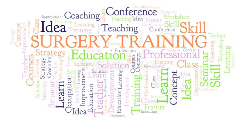 Surgery Training word cloud. Wordcloud made with text only stock illustration