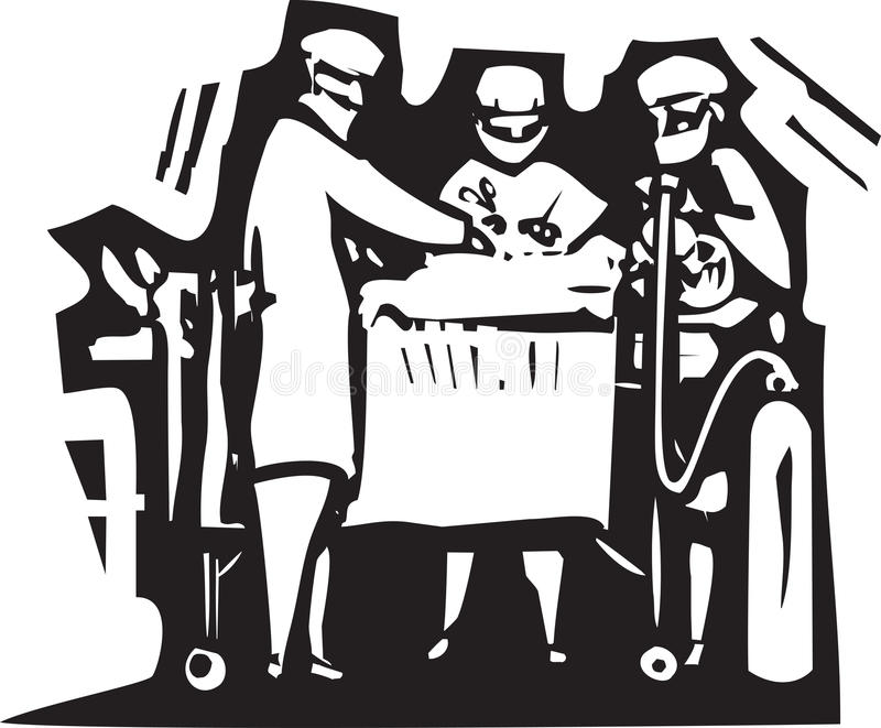 Surgery. Woodcut style expressionist image of doctors performing surgery on a patient vector illustration