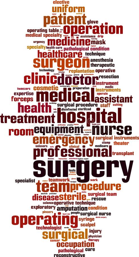 Surgery word cloud. Concept. Vector illustration royalty free illustration