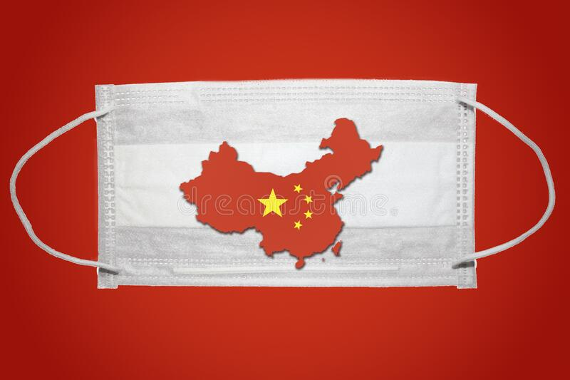 Surgical mask protective mask with People`s Republic of China map country silhouette. Chinese coronavirus outbreak. Red backgroun. D. 2019 Novel Coronavirus 2019 stock photo