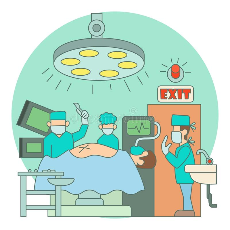 Surgical operation in hospital concept, flat style. Surgical operation in hospital concept. Flat illustration of surgical operation in hospital vector concept vector illustration