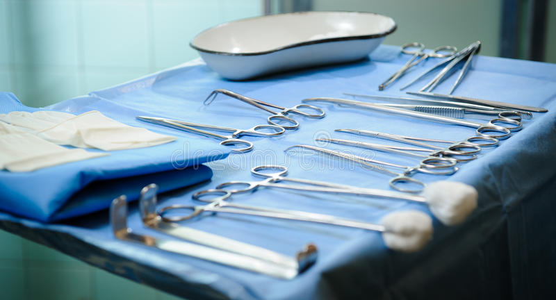 Surgical tools kit stock image