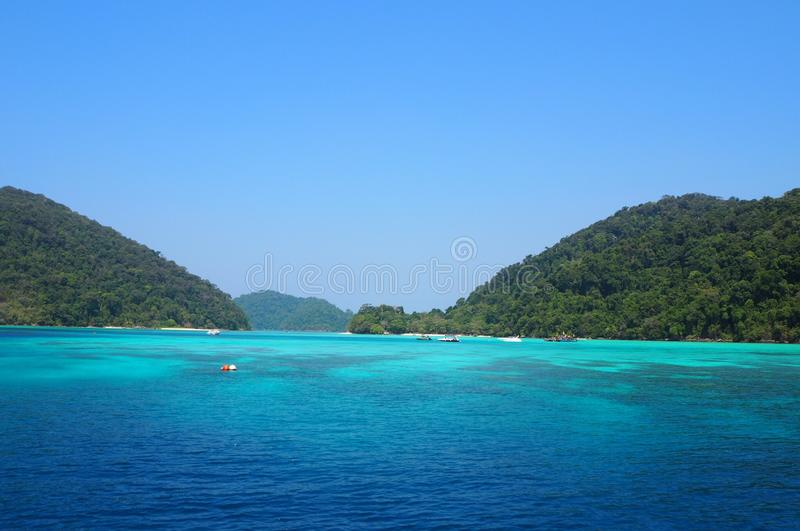 Surin Islands, the famous destination of scuba and snorkeling traveling royalty free stock images
