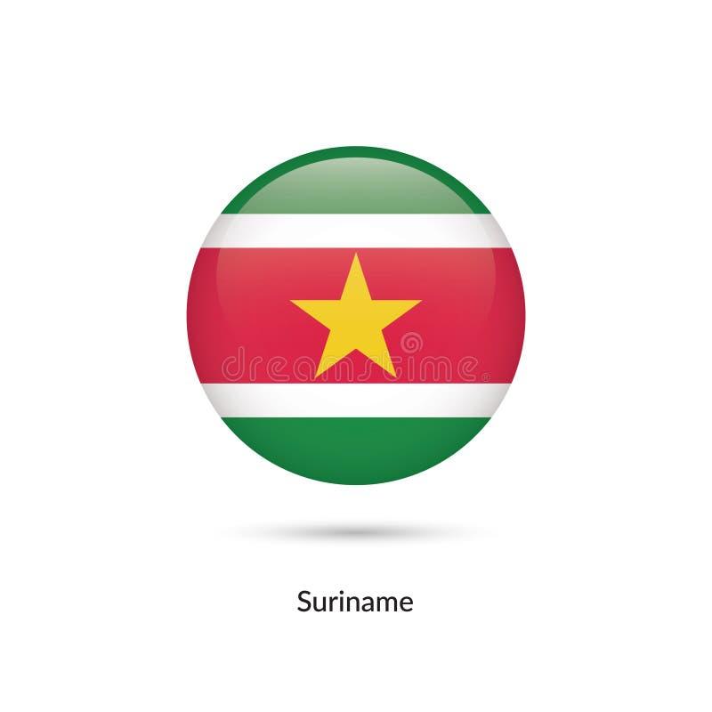 Surinam flagga - rund glansig knapp vektor illustrationer