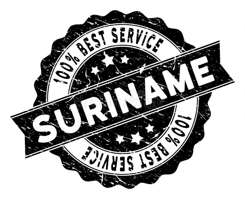 Suriname Best Service Stamp with Scratched Texture vector illustration