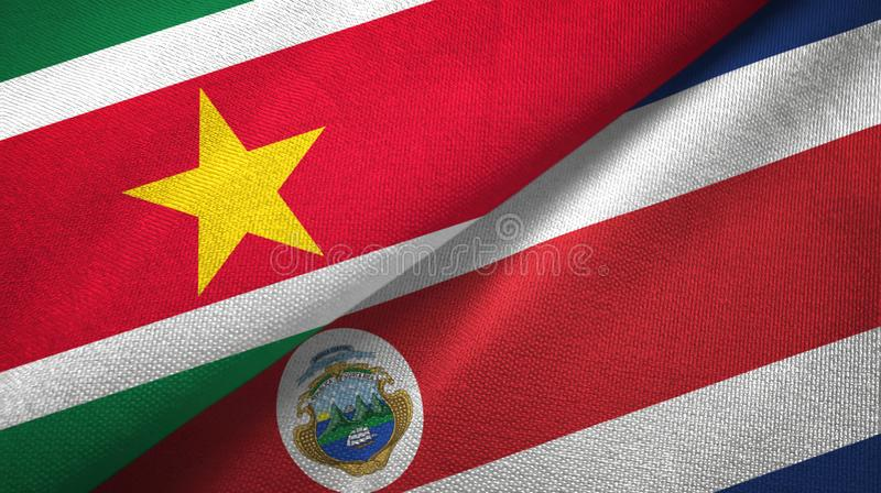 Suriname and Costa Rica two flags textile cloth, fabric texture stock illustration
