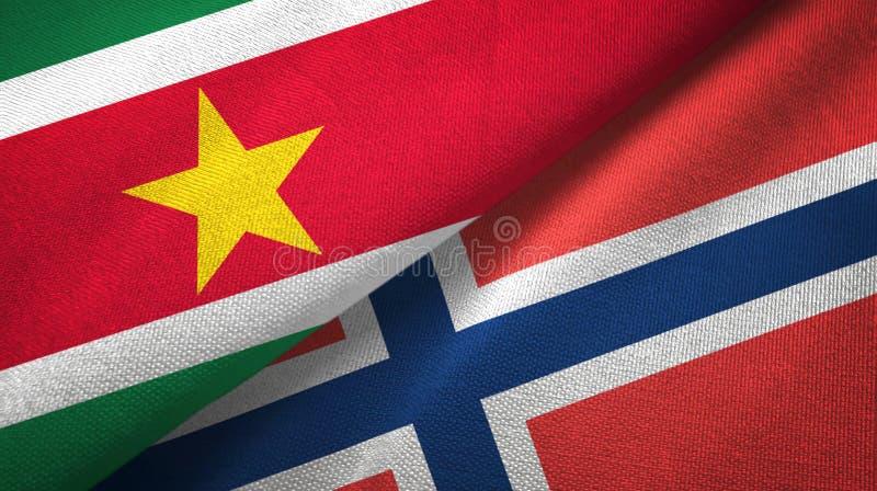 Suriname en Noorwegen twee vlaggen textieldoek, stoffentextuur stock illustratie