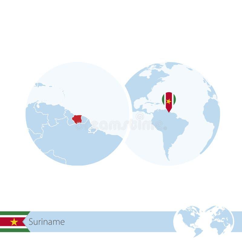 Suriname no globo do mundo com bandeira e o mapa regional do Suriname ilustração stock