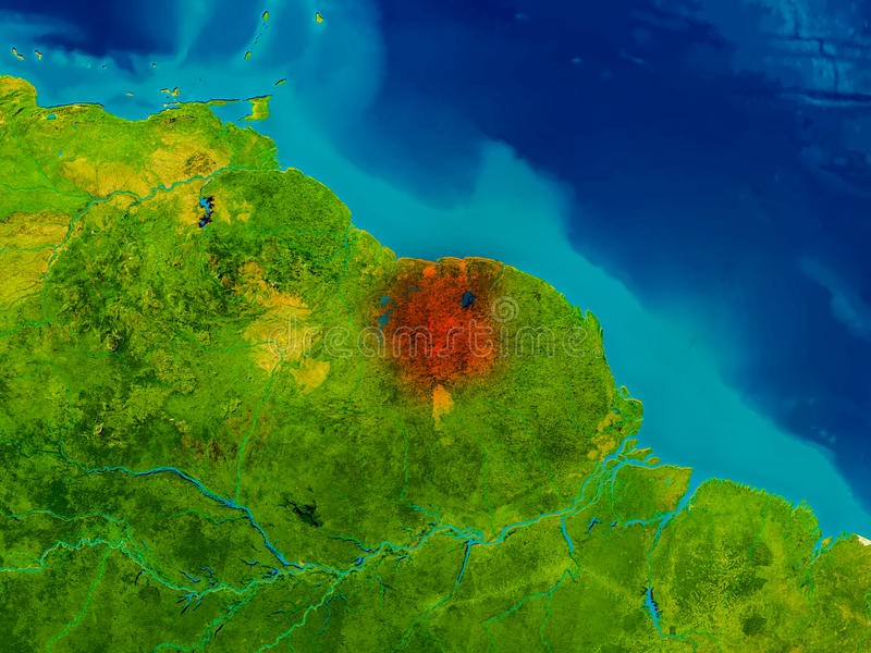 Suriname on physical map stock illustration Illustration of