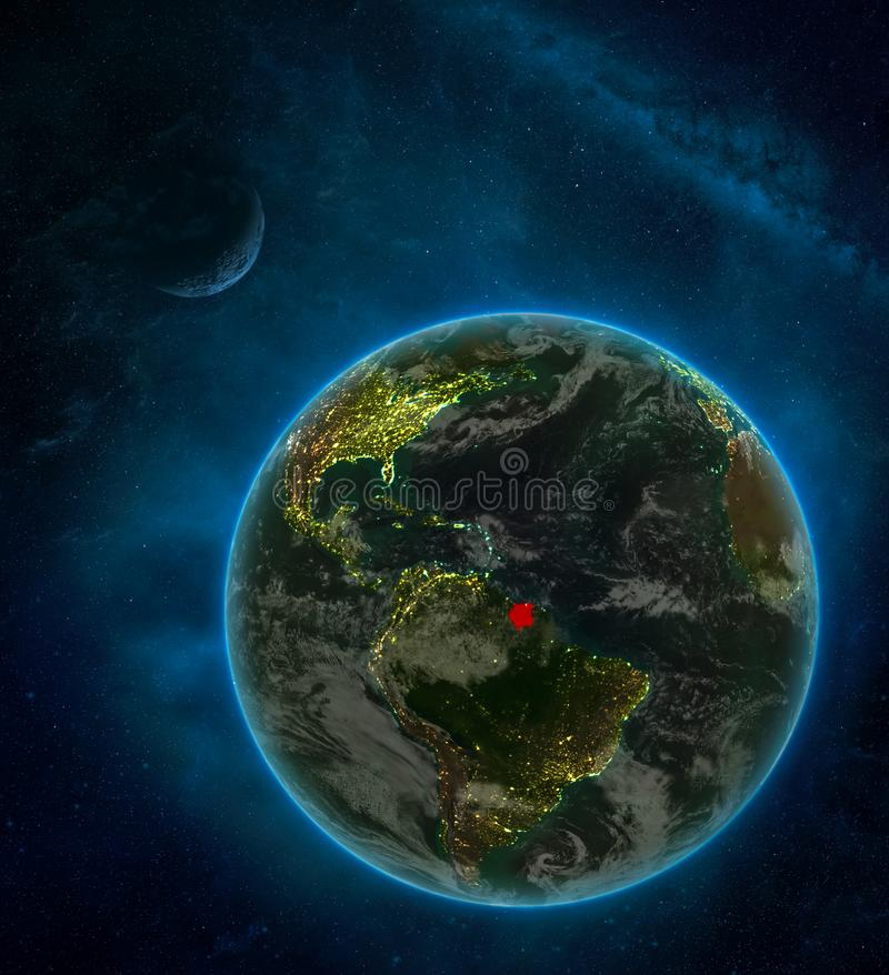 Suriname from space on Earth at night surrounded by space with Moon and Milky Way. Detailed planet with city lights and clouds. 3D. Illustration. Elements of royalty free illustration