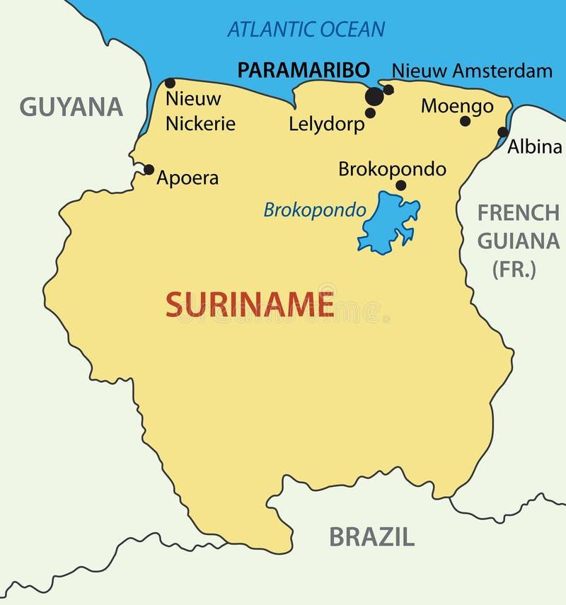 Suriname - Vektorkarte lizenzfreie abbildung