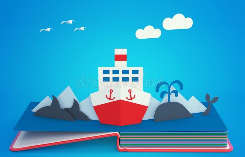 Surja el libro con el barco de vapor entre los icebergs stock de ilustración