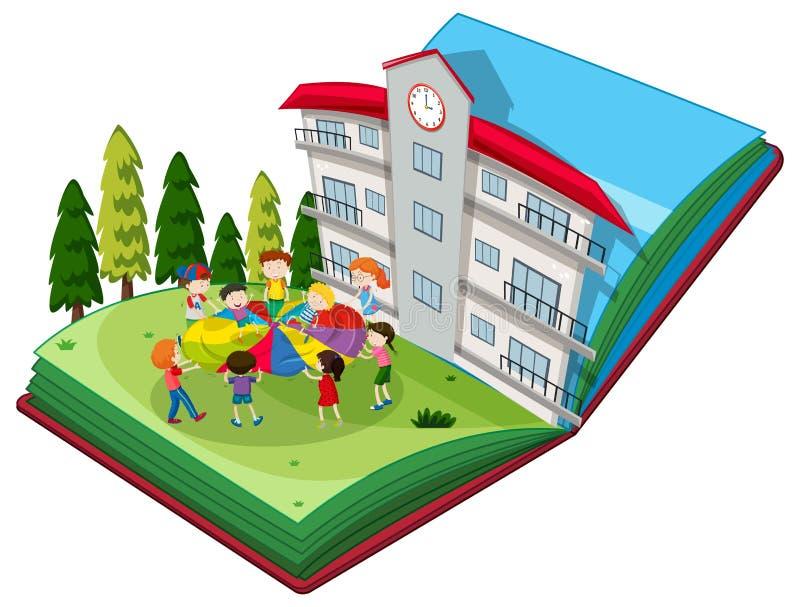 Surja el libro de los estudiantes que juegan en el patio ilustración del vector