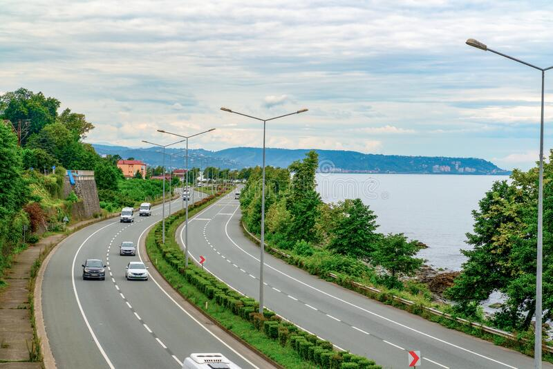 Surmene, Trabzon/Turkey August 07 2019: Black Sea Coastal Road, is a major west-east state road in northern Turkey that serves the. Black Sea coast stock image