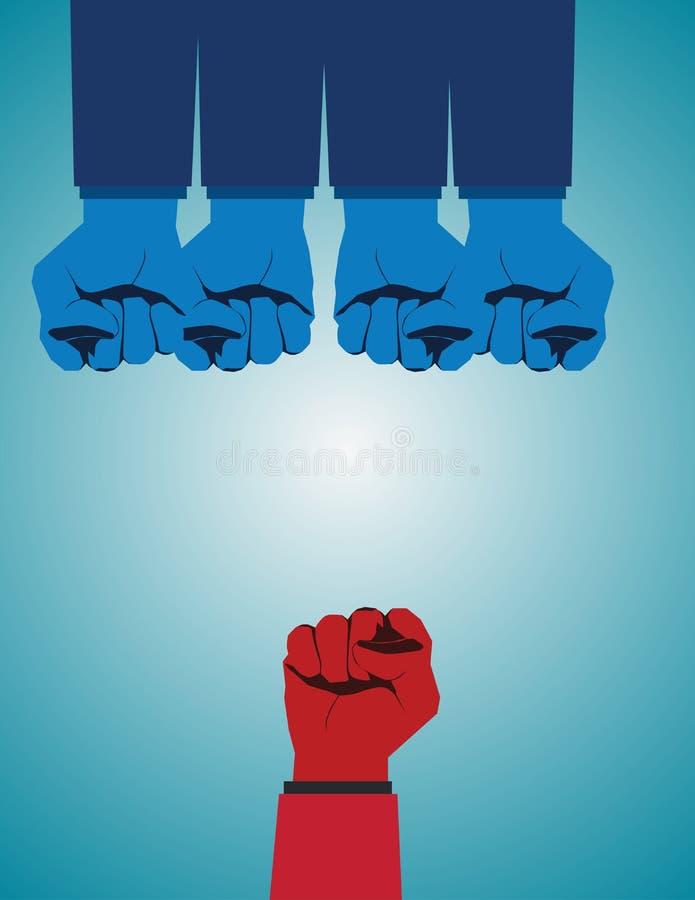 Surmontant l'adversité et conquérir des défis en tant que groupe illustration libre de droits