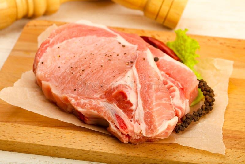surowa cutlet wieprzowina obraz stock