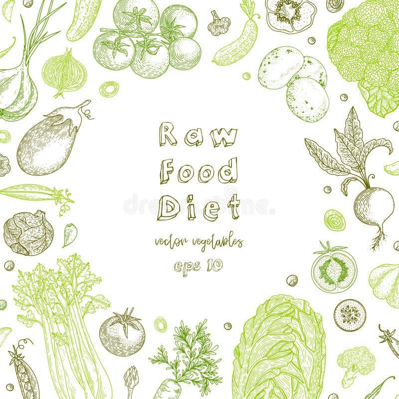 surowa karmowa dieta Jarski rocznika tło z naturalnymi organicznie produktami zdrowe życie Wektorowy skład świeży ilustracja wektor