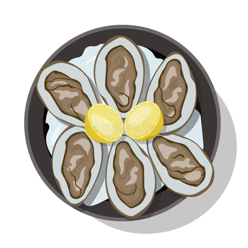Surowa ostryga w skorupie z plasterkiem cytryna ilustracja wektor