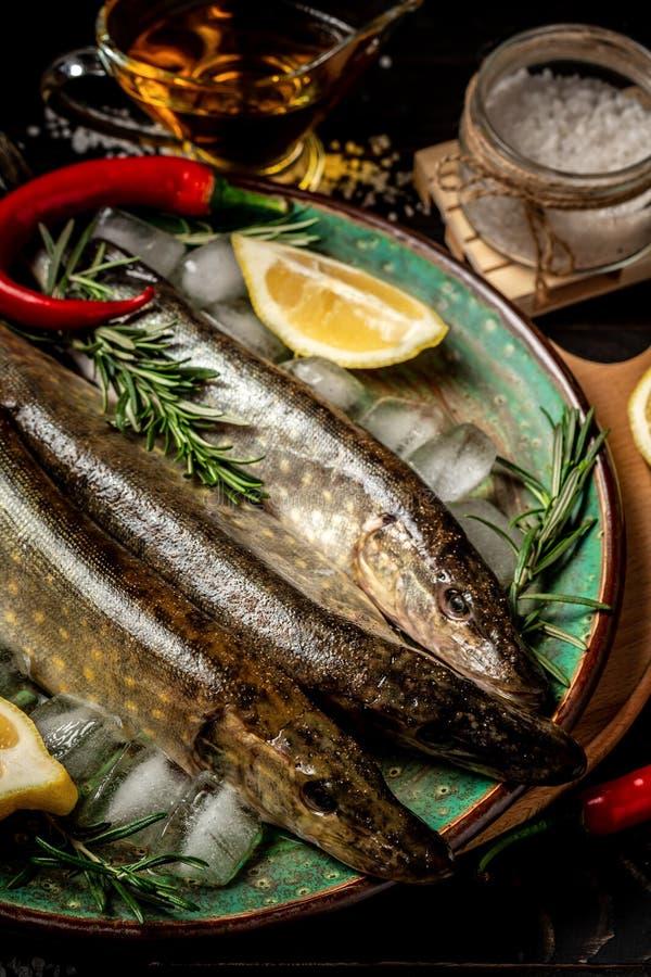Surowa ?wie?a rzeki ryba ryba na p??kowej tn?cej desce Ryba, cytryna, ziele i pikantność, Odg?rny widok obrazy stock