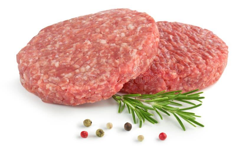 surowe hamburgery fotografia stock