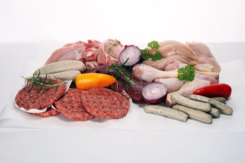 surowe mięso Różni typy surowy wieprzowiny mięso, kurczak i wołowina z, pikantność i ziele fotografia royalty free