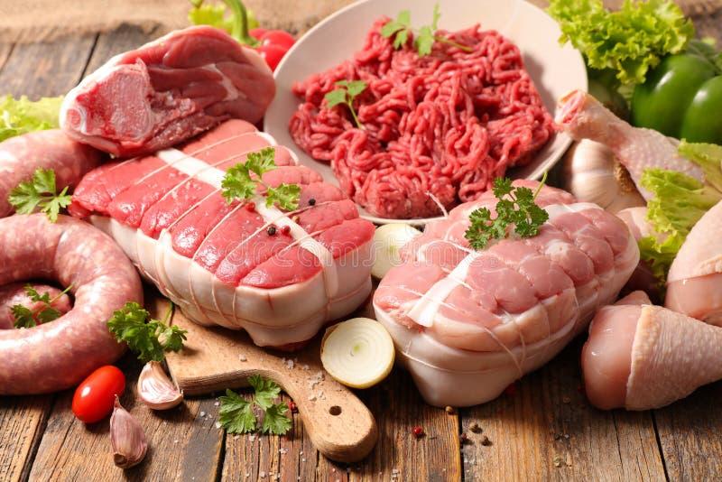 surowi asortowani mięsa zdjęcia stock