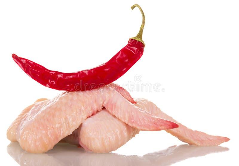Surowi kurczaków skrzydła i gorący pieprze odizolowywający na bielu zdjęcia royalty free