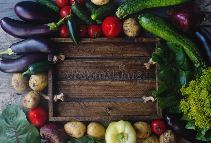Surowi organicznie świezi warzywa na drewnianym tle Jesieni żniwo, kolorowi warzywa, zdrowy styl życia, odgórny widok, przestrzeń zdjęcie stock