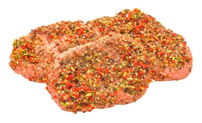 Surowi Popieprzeni wołowina grilla stki fotografia stock