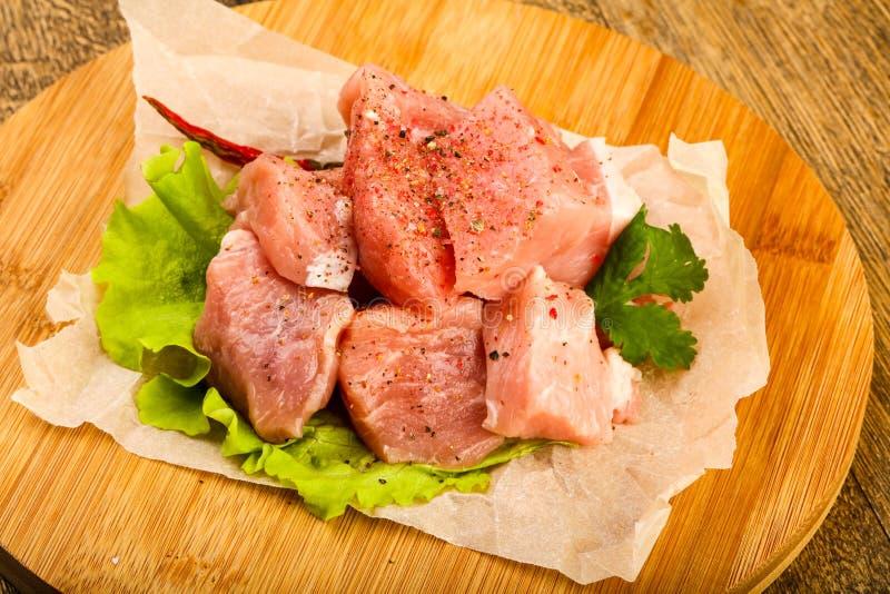 Surowi wieprzowina kawałki fotografia stock
