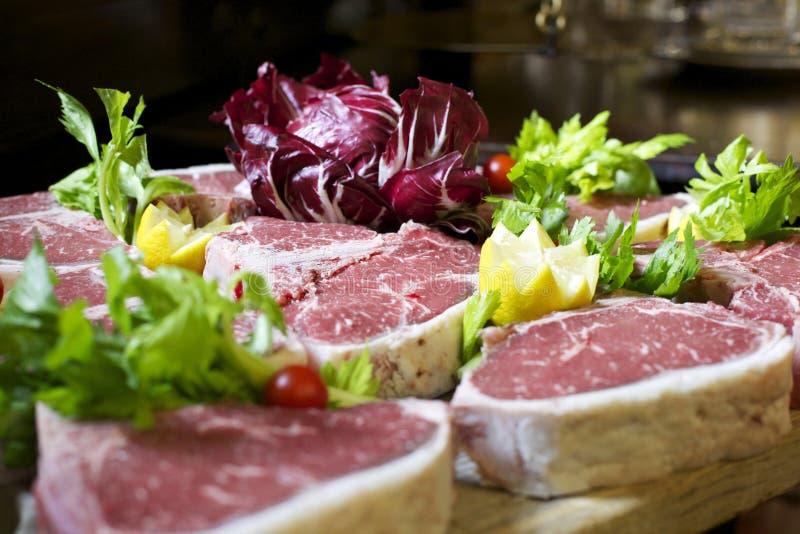 Surowy świeży fiorentina stek obrazy royalty free