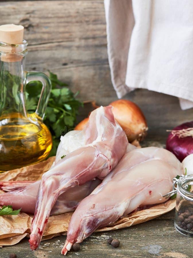 surowy mięsny królik fotografia stock