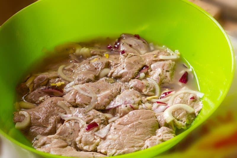 Surowy mięso dla kebabu zdjęcia royalty free
