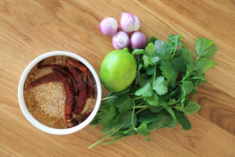 Surowy składnik dla Tajlandzkiego karmowego przepisu, Laab Korzennej minced sałatka, mennica, miętówka, pietruszka, wapno, szalot obrazy stock