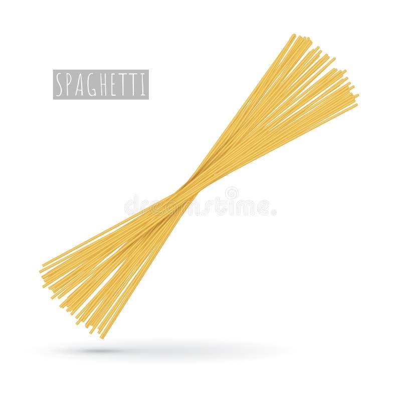 Surowy spaghetti makaron realistyczny royalty ilustracja