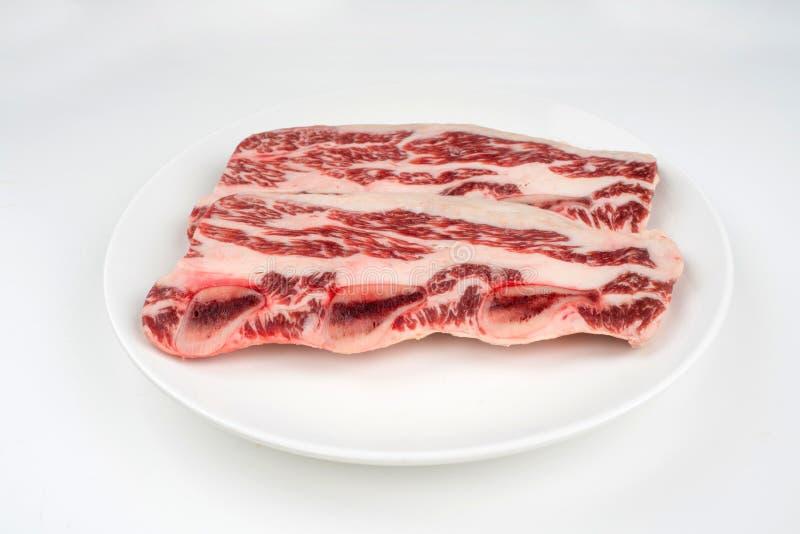 Surowy stek na talerzu fotografia royalty free