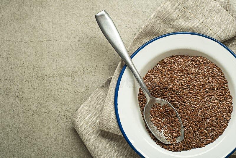 Surowy suchy lna ziarno dla zdrowego posiłku fotografia stock